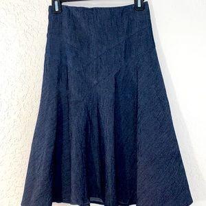 Sandro Denim Ruffle Midi Skirt Size 14